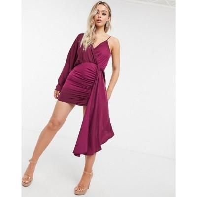 アイソウイットファースト I Saw It First レディース ワンピース ミニ丈 ワンピース・ドレス Asymmetric Satin Drape Mini Dress In Red レッド