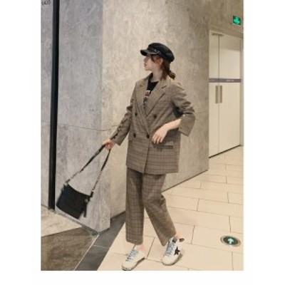 レディースファッション オールインワン・サロペット セットアップ 韓国 パンツスーツ 大きいサイズ チェック ジャケット パンツ ワイド