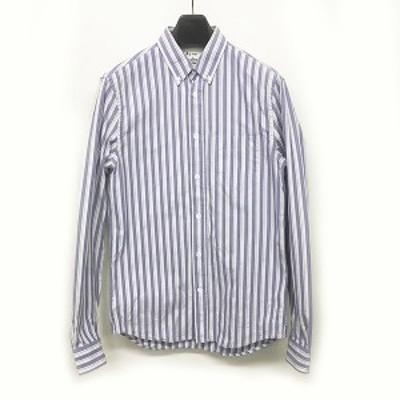 【中古】アクネ ストゥディオズ Acne Studios 17AW ストライプシャツ ボタンダウンシャツ BDシャツ 長袖 水色 白 46