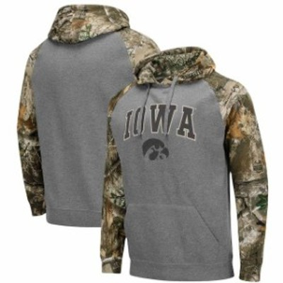 Colosseum コロセウム スポーツ用品  Colosseum Iowa Hawkeyes Charcoal/Realtree Camo Arch & Logo Pullover Hoodie