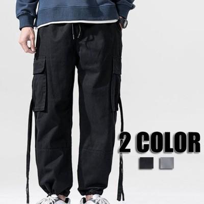カーゴパンツ ボトムス 無地 ジョガーパンツ メンズ 大きいサイズ カーゴ カジュアルパンツ 秋冬 ロング ブラック グレー メンズファッション 2色