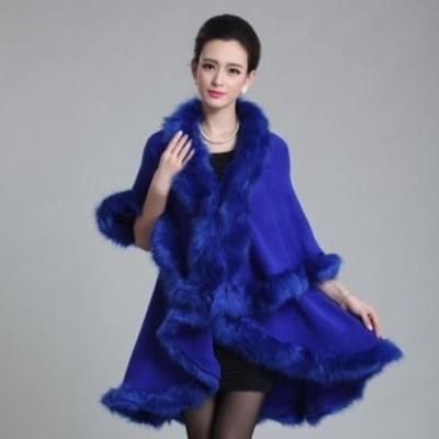 長いウールカシミヤフェイクキツネの毛皮コートポンチョ_Blue_購入時サイズ選択(ワンサイズ)