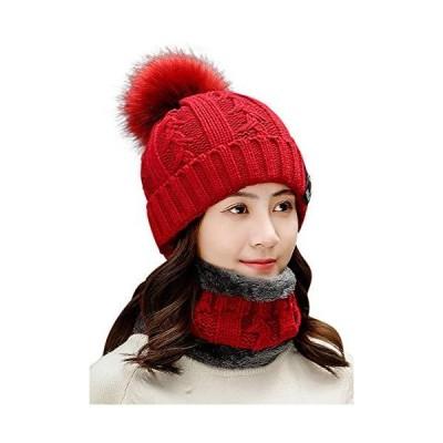 ネコート NC87RD ネックウォーマー ニットキャップ 7カラー 帽子 キャップ セット スキー スノボ 冬 男女兼用 無地 アウトドア