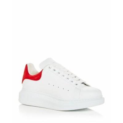 アレキサンダー・マックイーン レディース スニーカー シューズ Women's Oversized Suede Heel Detail Sneakers White/Red