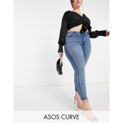 エイソス レディース デニムパンツ ボトムス ASOS DESIGN Curve high rise hourglass 'lift and contour' skinny jeans in midwash Midwa