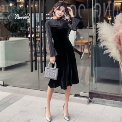 黒 ワンピース パーティードレス 総レース ワンピースドレス パーティ ドレス 長袖 ミモレ 膝丈 秋 冬 大きいサイズ ベルベット フレア