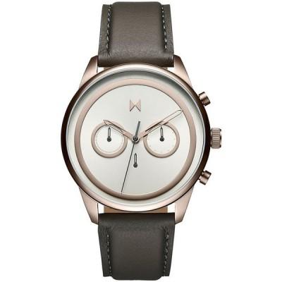 エムブイエムティー メンズ 腕時計 アクセサリー Men's Powerlane Gray Leather Strap Watch 43mm