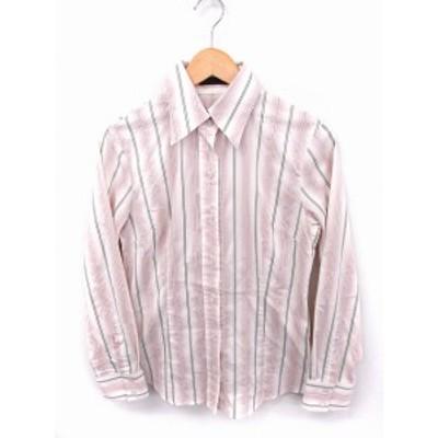 【中古】アイシービー iCB シャツ ブラウス ストライプ ラメ混 長袖 綿 15 ピンク ホワイト 白 /FT7 レディース