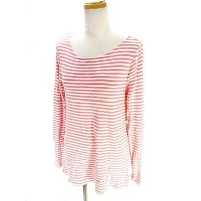 【中古】ギャップ GAP Tシャツ カットソー 長袖 ボーダー 赤 白 レッド ホワイト M レディース 【ベクトル 古着】