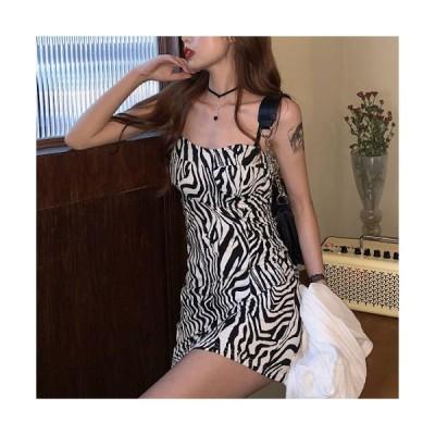 sexy ゼブラ柄 ワンピース レディース ドレス  スカート ショート丈 キャミワンピ