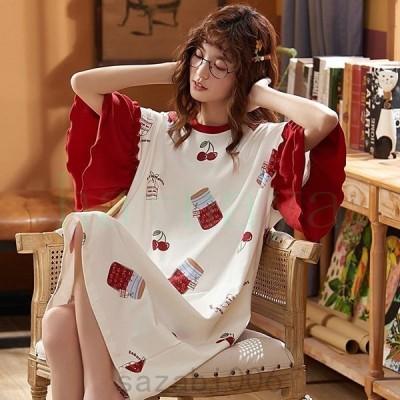 パジャマ ワンピース ダブルガーゼ 半袖 レディース ルームウェア 部屋着 可愛い 着痩せ ルームウェア ゆったり 学生 綿 夏 ランジェリー