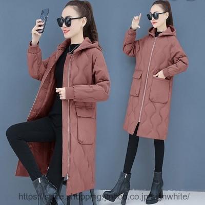 中綿ダウンコート レディース 40代 ロング丈 軽い 冬服 厚手 アウター 中綿コート 中綿ジャケット ダウン風コート フード付き 暖かい 大きいサイズ スリム 防寒