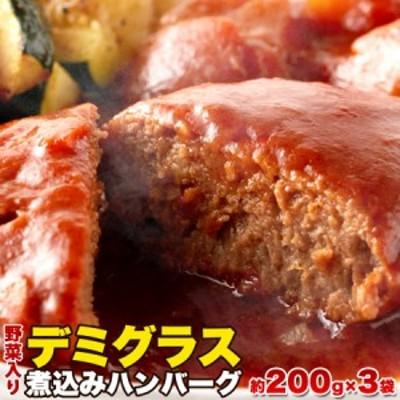 (ゆうパケット送料無料)野菜入りデミグラス煮込みハンバーグ約200g×3袋