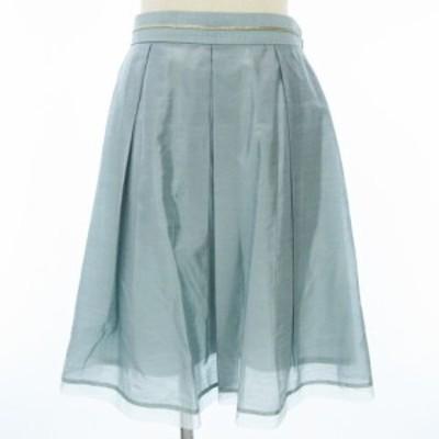 【中古】アンタイトル UNTITLED フレア スカート プリーツ ひざ丈 水色 ブルー系 2 レディース