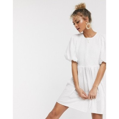 エイソス レディース ワンピース トップス ASOS DESIGN shirred mini smock dress with puff sleeves in texture in white