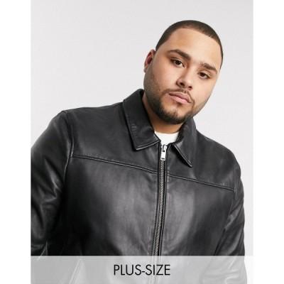 ボロンガロトレバー メンズ ジャケット&ブルゾン アウター Bolongaro Trevor Plus slim fit leather jacket Black