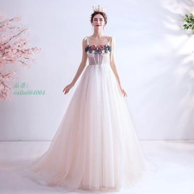 ウエディングドレス ドレス aライン 花 レース 花嫁 イブニングドレス パーティードレス 結婚式 旅行 披露宴 ロングドレス 撮影 二次会 ブライダル
