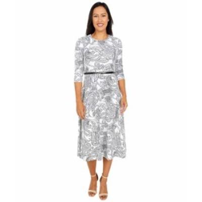カルバンクライン レディース ワンピース トップス Belted Paisley Print A-Line Dress Cream/Black