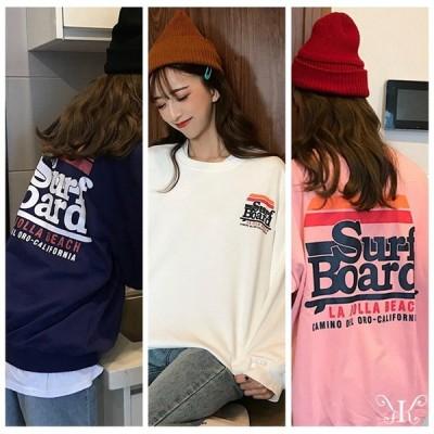 大きいサイズ レディース  韓国ファッション 英字プリント Tシャツ 長袖 トレーナー スウェット