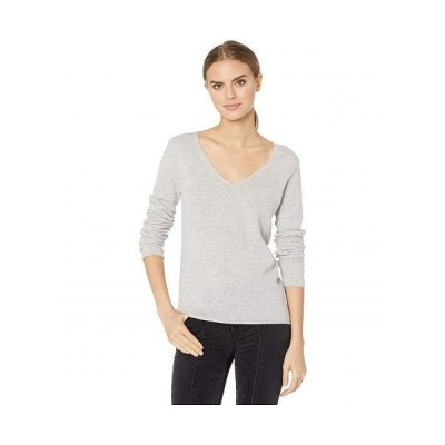 Majestic Filatures レディース 女性用 ファッション セーター Cashmere Long Sleeve V-Neck Sweater - Gris Chine Claire