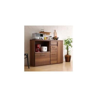 キッチン収納 日本製完成品 天然木調ワイドキッチンカウンター Walkit ウォルキット レンジ台+扉付き引き出し 120cm