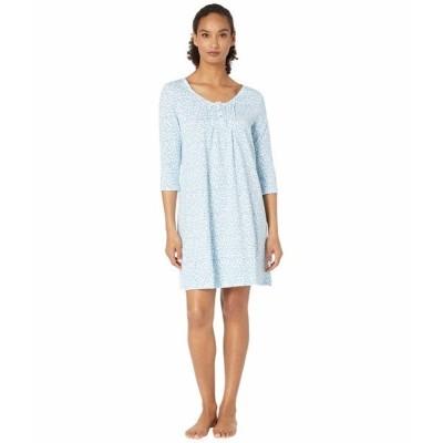 カロールホクマン ナイトウェア アンダーウェア レディース Soft Jersey 3/4 Sleeve Sleepshirt Aqua Multi Ditsy