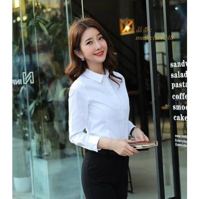 レディース 長袖シャツ ネイビー S 紺 大きいサイズ トップス ブラウス L ロングシャツ XL 2XL ブラック ホワイト 水色 3XL 黒 ブルー M 白 4XL