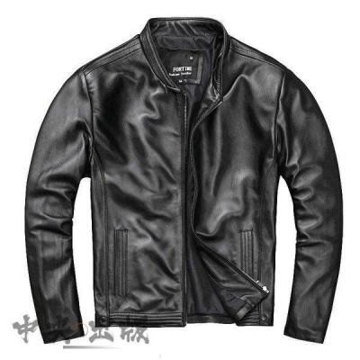 レザージャケット メンズ 本革 ライダース ジャケット メンズ シングル 黒 羊革 革ジャン ライダー ミリタリージャケット