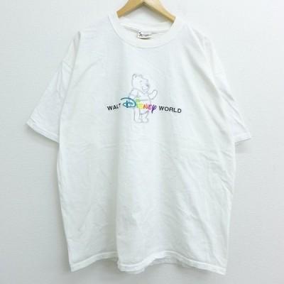 XL/古着 Tシャツ ディズニー DISNEY くまのプーさん 刺繍 大きいサイズ コットン クルーネック 白 ホワイト 20mar05 中古 メンズ 半袖