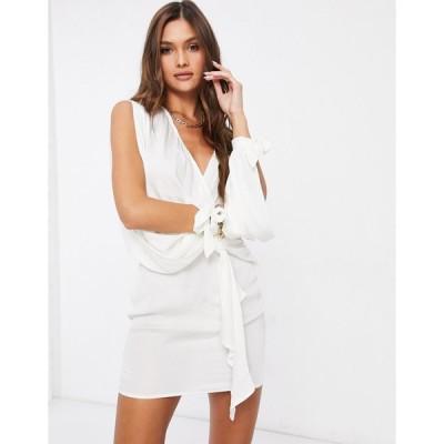 アイソウイット ミディドレス レディース I Saw It First hammered satin plunge tie sleeve shift dress in white  エイソス ASOS sale ホワイト 白
