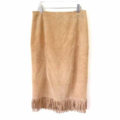 【中古】マカフィー MACPHEE トゥモローランド レザースカート やぎ革 裾フリンジ ウエスタン キャメル ベージュ 38 M SSS7 レディース