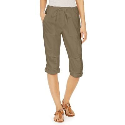 トミー ヒルフィガー カジュアルパンツ ボトムス レディース Cropped Drawstring Pants Thyme