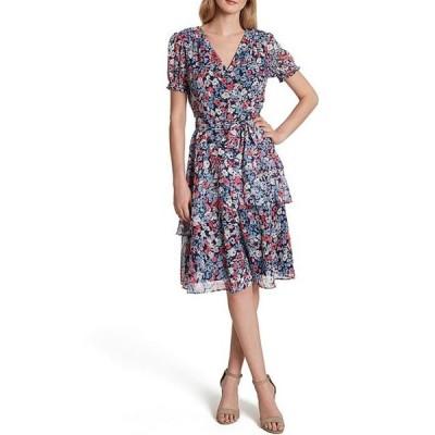 タハリエーエスエル  レディース ワンピース トップス Petite Size Floral Print Short Sleeve Tiered Chiffon Faux Wrap Dress