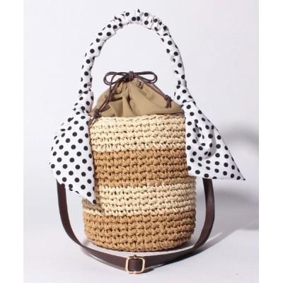L.i / 【Via Demizon ビアデミゾン】ボーダー柄の小ぶりの2WAYショルダーカゴバッグ WOMEN バッグ > かごバッグ