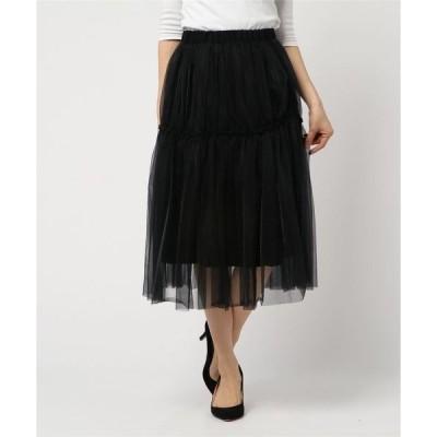 スカート チュールレイヤードスカート
