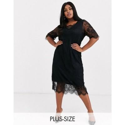 ジュナローズ Junarose レディース ワンピース シフトドレス ワンピース・ドレス lace shift dress ブラック