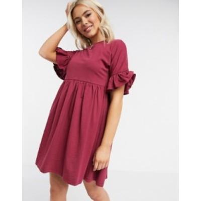 エイソス レディース ワンピース トップス ASOS DESIGN super oversized frill sleeve smock dress in oxblood Oxblood