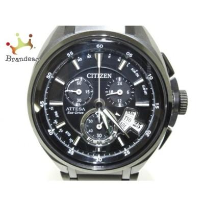 シチズン CITIZEN 腕時計 美品 アテッサ エコドライブ H610-T015590 メンズ 黒  値下げ 20200410