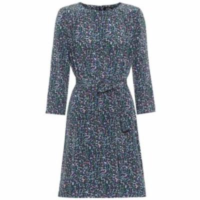 アーペーセー A.P.C. レディース ワンピース ワンピース・ドレス Brigette printed silk minidress Bleu