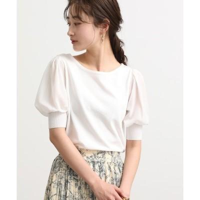 tシャツ Tシャツ 【新色追加】袖シフォンニットプルオーバー