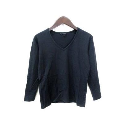 【中古】セオリー theory カットソー Tシャツ 七分袖 Vネック 2 黒 ブラック /YI レディース 【ベクトル 古着】