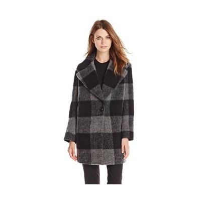 kensie Women's Plaid Cocoon Wool Coat, Black/Charcoal, Large並行輸入品 送料無料
