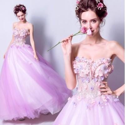 ロマンチック ウェデイングドレス 結婚式 ベアトップ ロングドレス 豪華 真珠 フラワー レース刺繍 司会ドレス パーティードレス