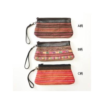 モン族 民族柄 刺繍 ポーチ タイ製 ポーチ ミニクラッチバッグ ハンドバッグ スマホケース エスニック雑貨 アジアン雑貨 送料無料 クリックポスト