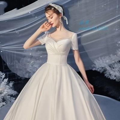ウェディングドレス ウェディングドレス白 パーティードレス 可愛いドレス 花嫁ロングドレス 結婚式 二次会 挙式 エレガント トレーンライン お呼ばれ