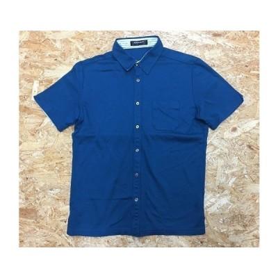 BOYCOTT ボイコット サイズ2 メンズ(レディース?) カットソーシャツ 胸ポケット付き 半袖 綿×レーヨン ターコイズブルー 青緑