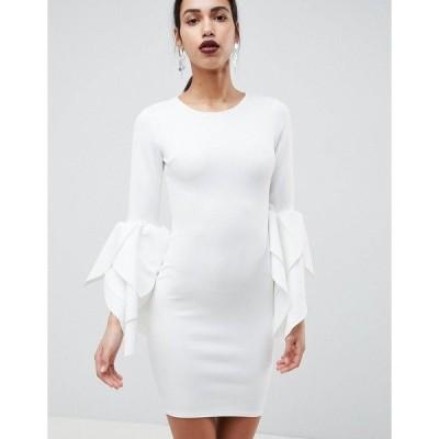 クラブエルロンドン レディース ワンピース トップス Club L Sleeve Detail Scuba Bodycon Dress White