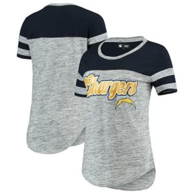 ニューエラ レディース Tシャツ トップス Los Angeles Chargers New Era Women's Glitter Gel T-Shirt Navy