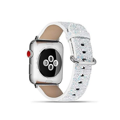 Compatible with Apple Watch 38mm 40mm Shiny Bling Genuine Leather Watch Wrist Band Strap Bracelet with Stainless Steel Clasp .Replacement fo