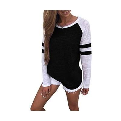 Yidarton Women's Color Block Long Sleeve T Shirt Casual Round Neck Tunic To